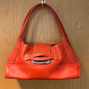 TOD'S Bright Orange Shoulder Bag w/ Silver Clasp